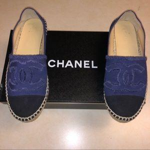 CHANEL Linen CC Espadrilles size 8/38 women